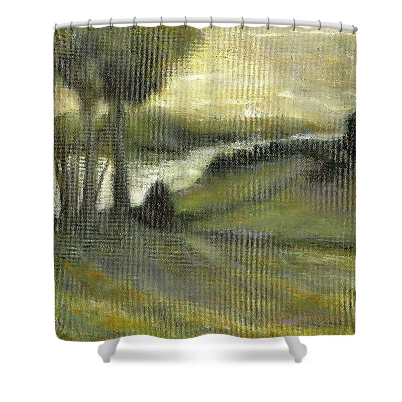 Trees River Landscape Summer Fields Yellow Purple Green Rolling Hills Civil War Shower Curtain featuring the painting Along The Missouri River Bluffs by Joe Leahy