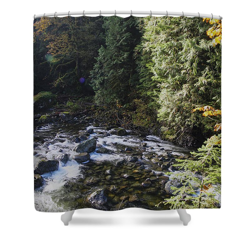 Landscape Shower Curtain featuring the photograph Along The River Bank by Darleen Stry