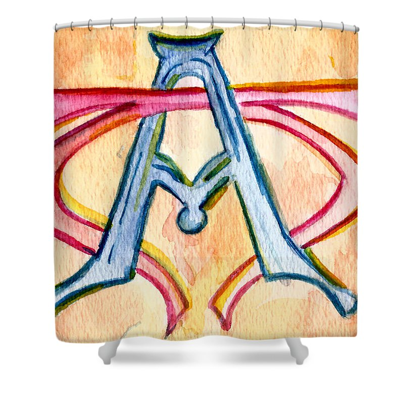 Church Shower Curtain featuring the painting Alpha And Omega - Study #2 by Elizabeth Briggs