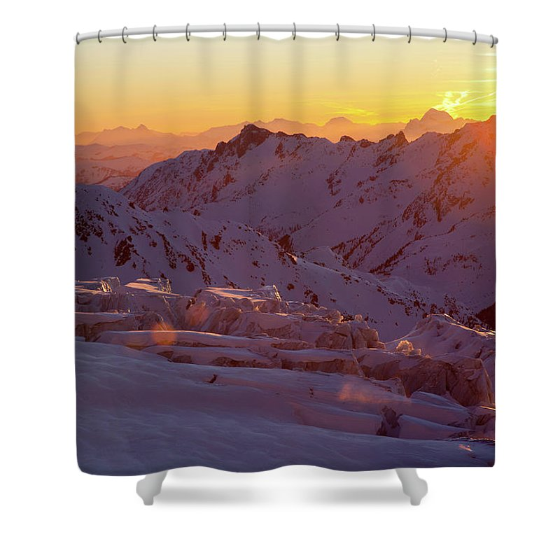 Alpine Glow Shower Curtain featuring the photograph Alpine Sunset On High Alpine Glacier by Jonathan Griffith