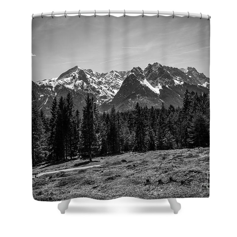 Alpspitze Shower Curtain featuring the photograph Alpspitze Till Zugspitze II by Hannes Cmarits