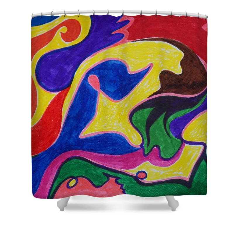 Abstract Shower Curtain featuring the mixed media Alrisha The New Breed by James Welch