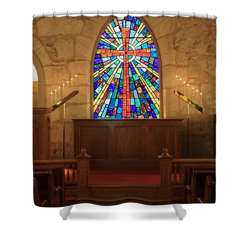 The Little Church Shower Curtain featuring the photograph Altar at the Little Church in La Villita by Carol Groenen