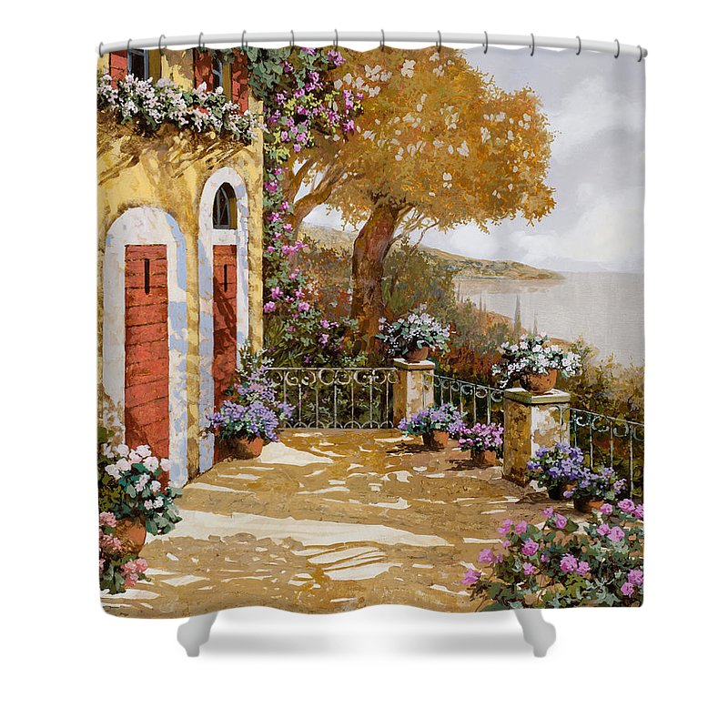Terrace Shower Curtain featuring the painting Altre Porte Rosse by Guido Borelli