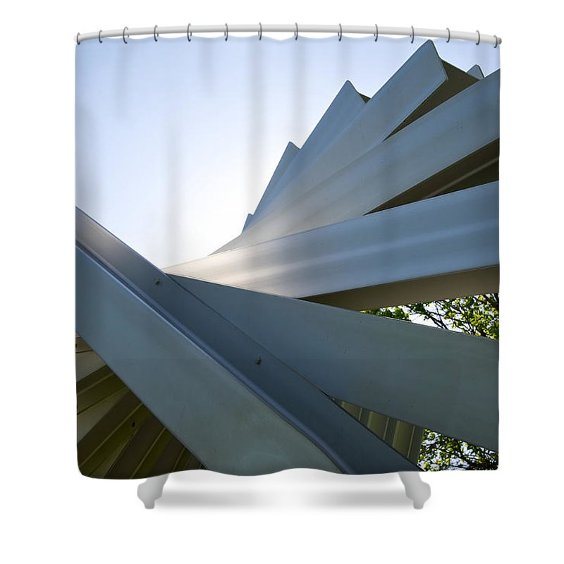 Abstract Shower Curtain featuring the photograph Aluminum Sculpture Detail by Mary Lee Dereske