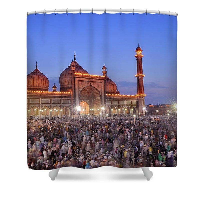 Arch Shower Curtain featuring the photograph Alvida Juma Twilight At Jama Masjid by Nimit Nigam