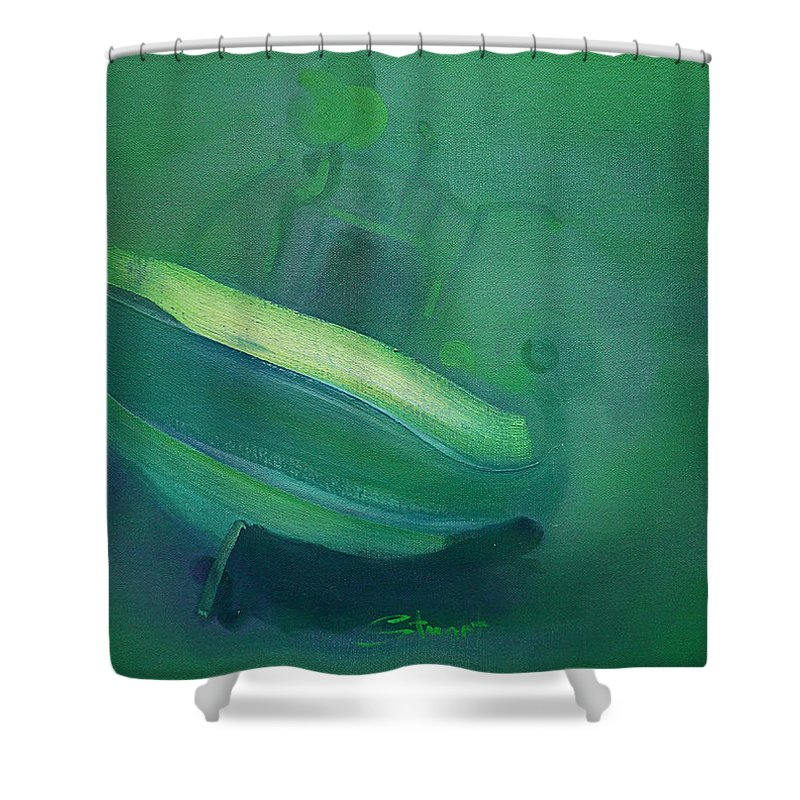 Fishing Boat Shower Curtain featuring the painting Alvor Working Boat by Charles Stuart