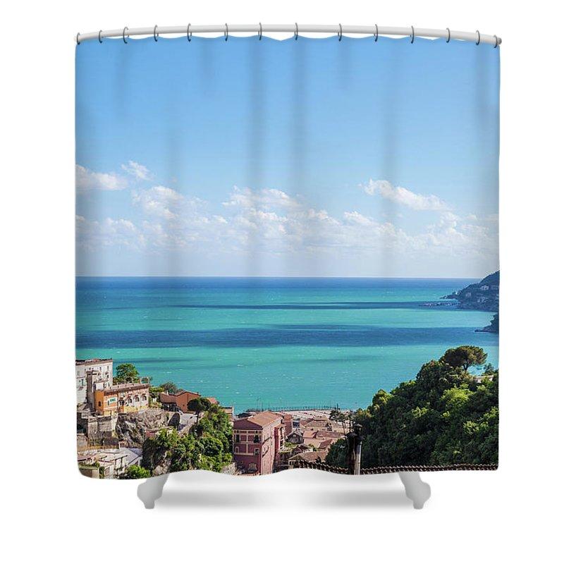 Scenics Shower Curtain featuring the photograph Amalfi Coast Landscape Vietri Village by Angelafoto