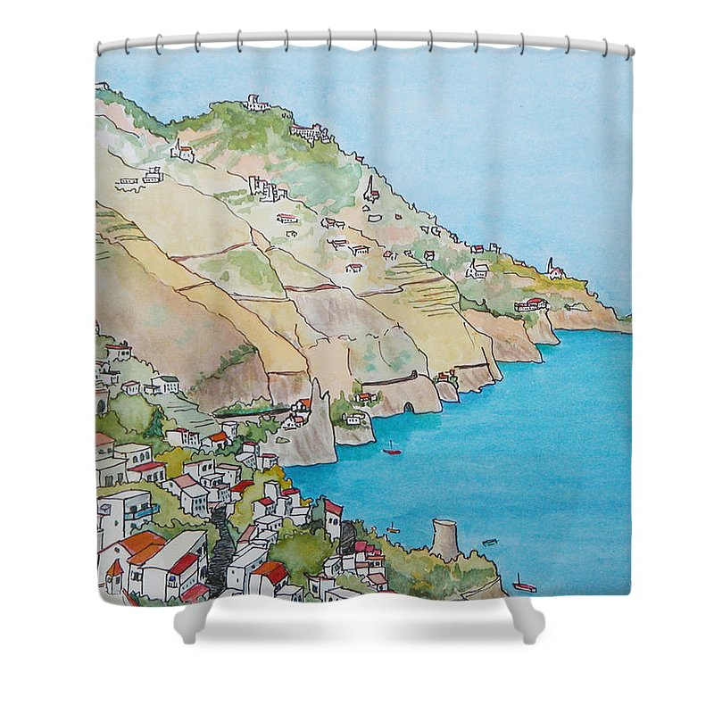 Landscape Shower Curtain featuring the painting Amalfi Coast Praiano Italy by Mary Ellen Mueller Legault