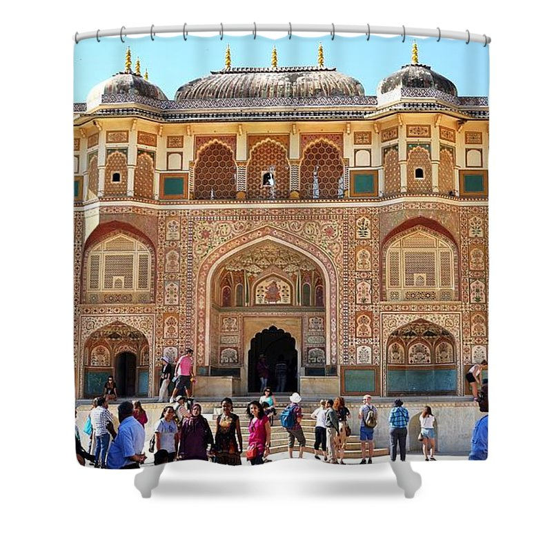 Amber Fort Shower Curtain featuring the photograph Amber Fort Entrance To Living Quarters - Jaipur India by Kim Bemis