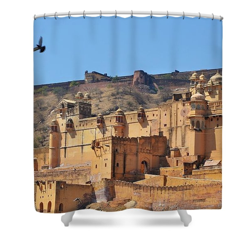Amber Fort Shower Curtain featuring the photograph Amber Fort View - Jaipur India by Kim Bemis