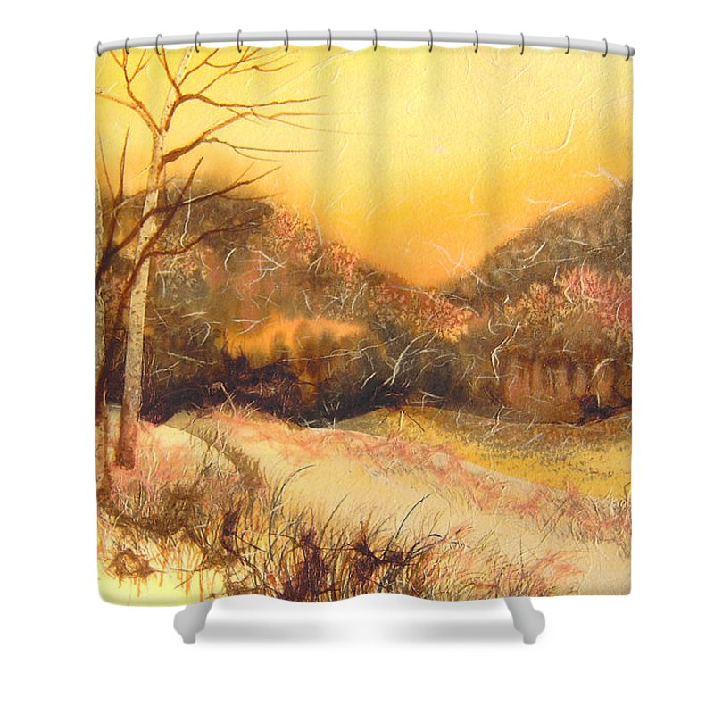 Landscape Shower Curtain featuring the mixed media Amber Sunset by Joye Moon