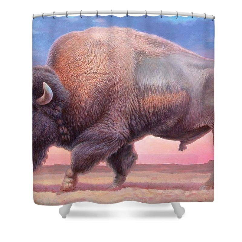 Buffalo Shower Curtain Featuring The Painting American By Hans Droog