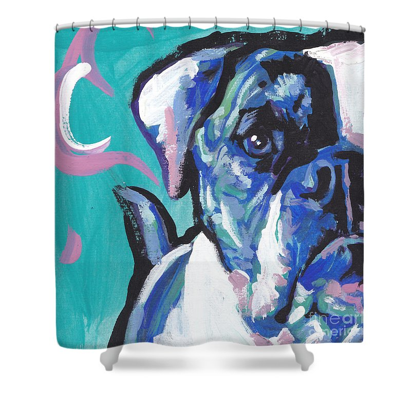American Bulldog Shower Curtain featuring the painting American Bully Boy by Lea S