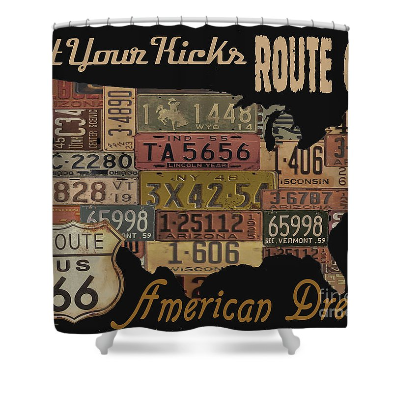 Jean Plout Shower Curtain featuring the digital art American Dream-route 66 by Jean Plout
