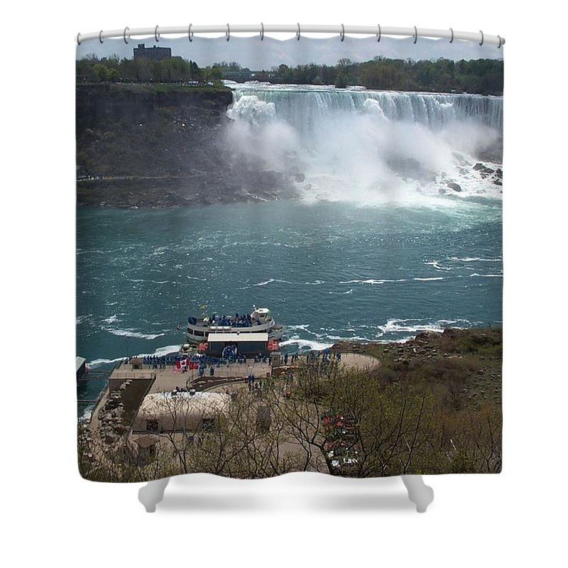 Niagara Falls Shower Curtain featuring the photograph American Falls From Above The Maid by Barbara McDevitt