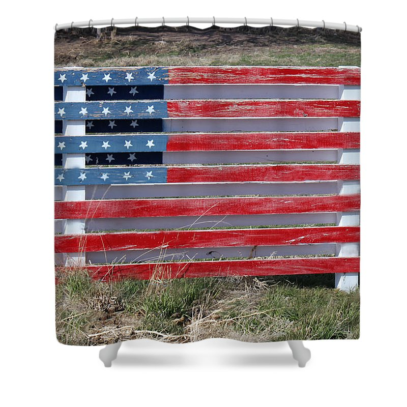 Americana Shower Curtain Featuring The Photograph American Flag Country Style By Sylvia Thornton