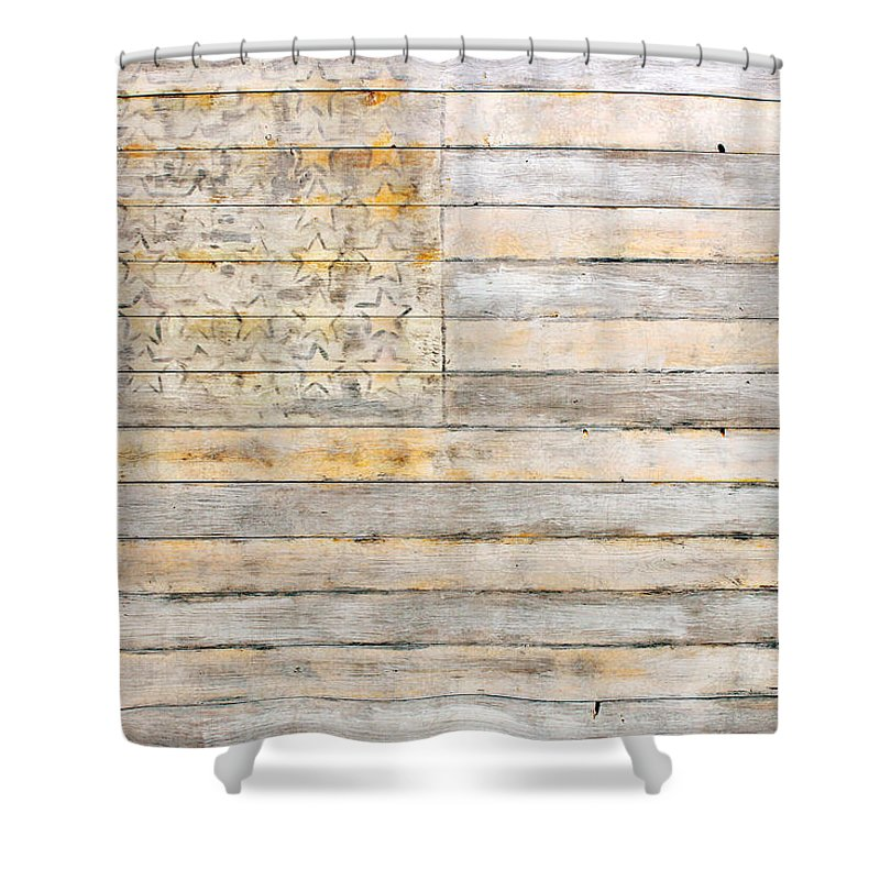 American Shower Curtain Featuring The Mixed Media Flag On Distressed Wood Beams White Yellow Gray