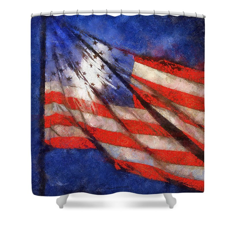 Flag Shower Curtain featuring the photograph American Flag Photo Art 02 by Thomas Woolworth