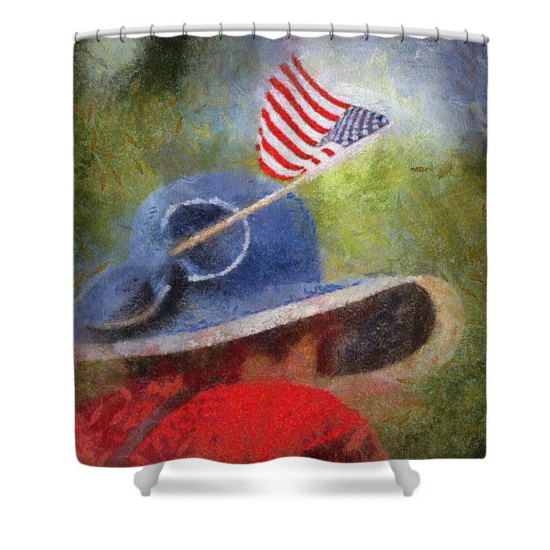 Flag Shower Curtain featuring the photograph American Flag Photo Art 06 by Thomas Woolworth