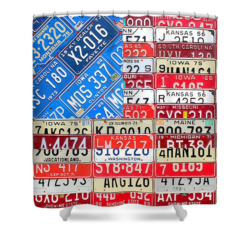 American Flag Recycled License Plate Art Iowa Michigan Kansas Nevada Montana South Carolina Kentucky Missouri Florida