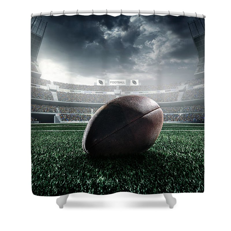 Event Shower Curtain featuring the photograph American Football Ball by Dmytro Aksonov