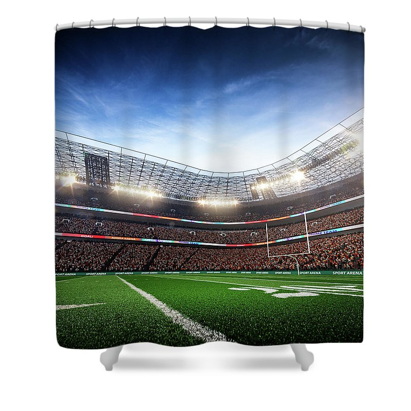 Financial Figures Shower Curtain featuring the photograph American Football Stadium Arena Vertical by Sarhange1