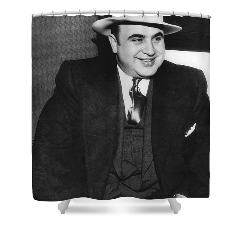 1035-790 Shower Curtain featuring the photograph American Gangster Al Capone by Underwood Archives