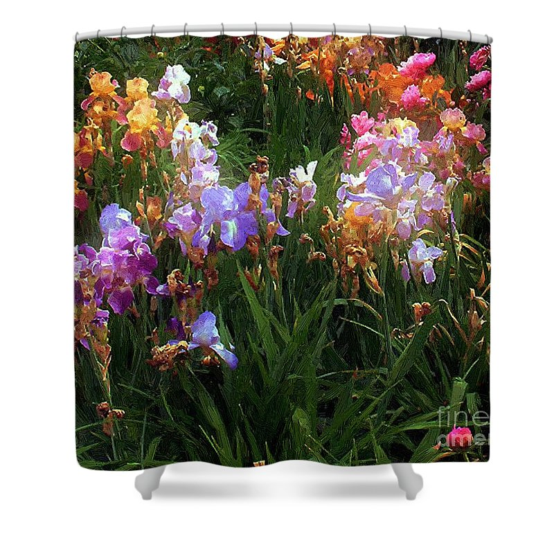 Flowers. Garden Shower Curtain featuring the painting American Giverny by RC DeWinter