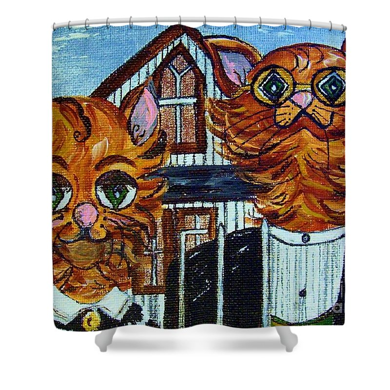 American Shower Curtain featuring the painting American Gothic Cats - A Parody by Eloise Schneider Mote