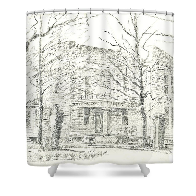 American Home Ii Shower Curtain featuring the drawing American Home II by Kip DeVore