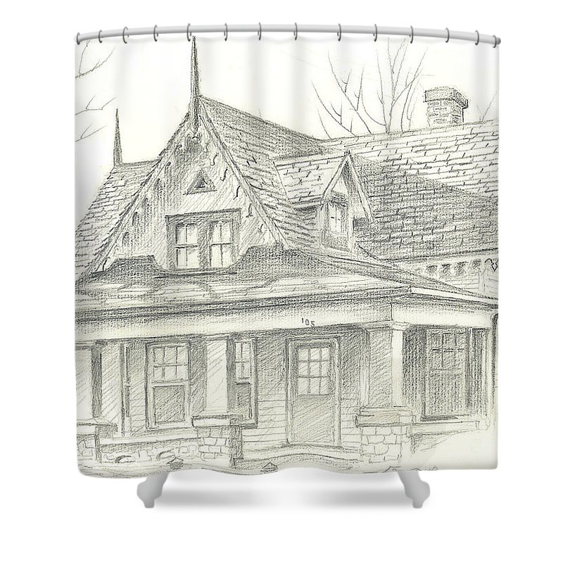 American Home Shower Curtain featuring the drawing American Home by Kip DeVore