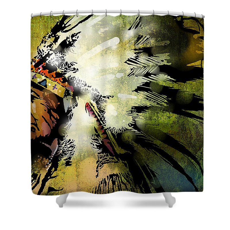 Native American Shower Curtain featuring the painting American Horse by Paul Sachtleben