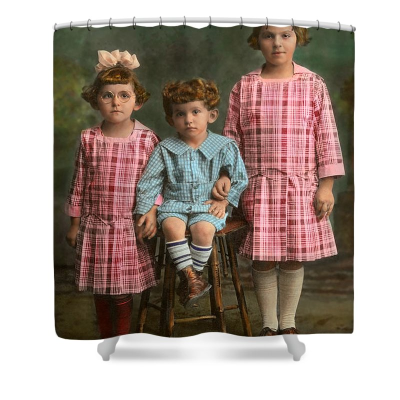 Siblings Shower Curtain Featuring The Photograph Americana