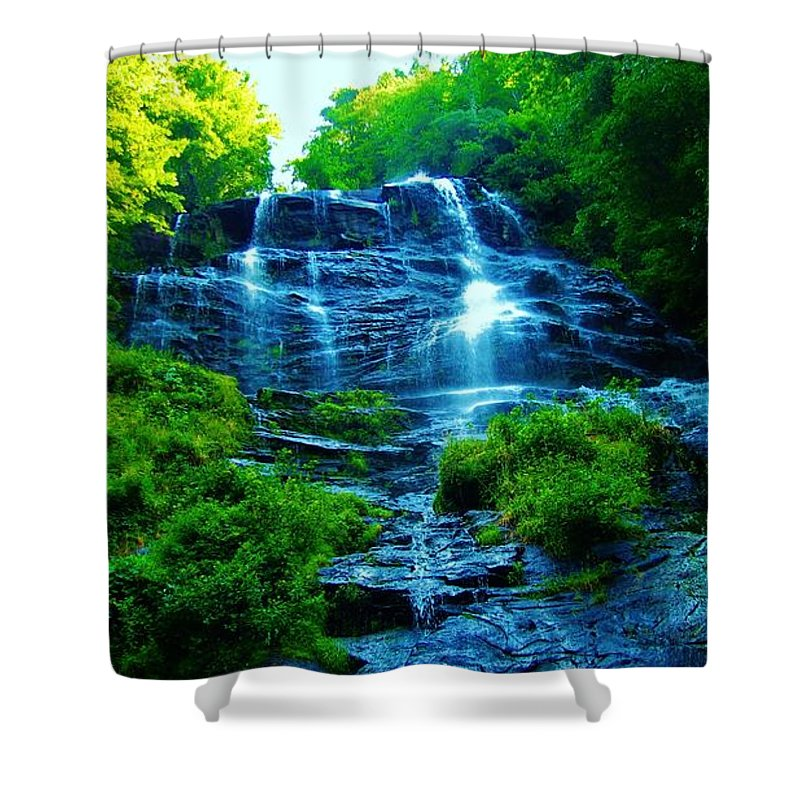 Keri West Shower Curtain featuring the photograph Amicalola Cascades by Keri West