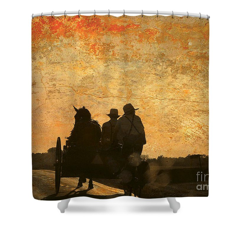 Amish Shower Curtain featuring the photograph Amish After A Hard Days Work by Beth Ferris Sale