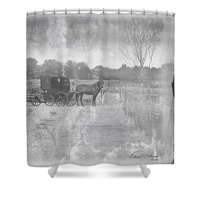 Amish Shower Curtain featuring the photograph Amish Buggy In Old Book by David Arment