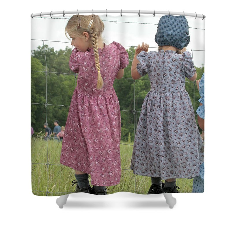 Amish Shower Curtain featuring the photograph Amish Girls Having Fun by Dwight Cook