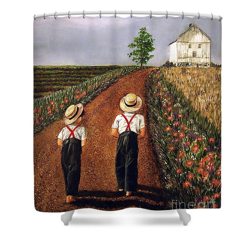 Lifestyle Shower Curtain featuring the painting Amish Road by Linda Simon