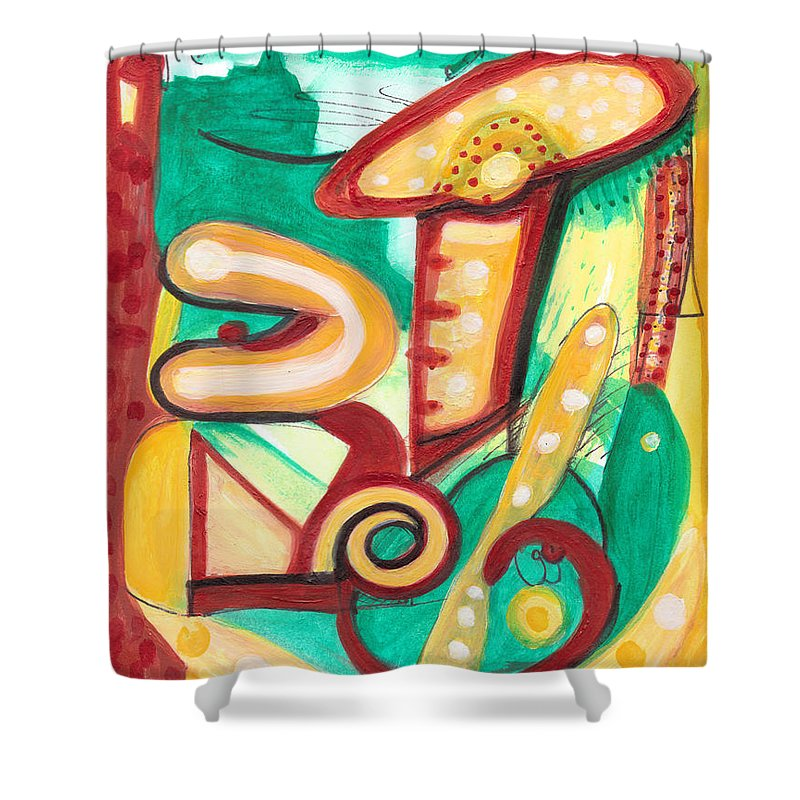Abstract Art Shower Curtain featuring the painting Amanita Muscaria by Stephen Lucas