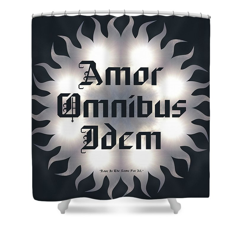 Sacredlife Mandalas Shower Curtain featuring the digital art Amor Omnibus Idem by Derek Gedney