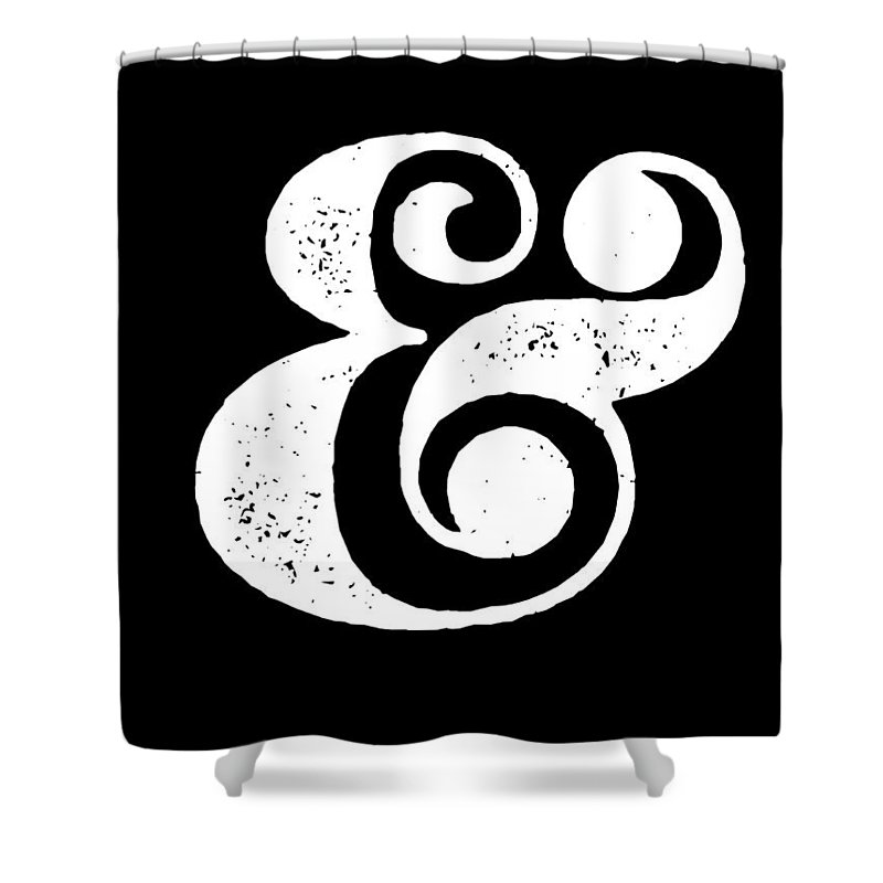 Ampersand Shower Curtain featuring the digital art Ampersand Poster Black by Naxart Studio