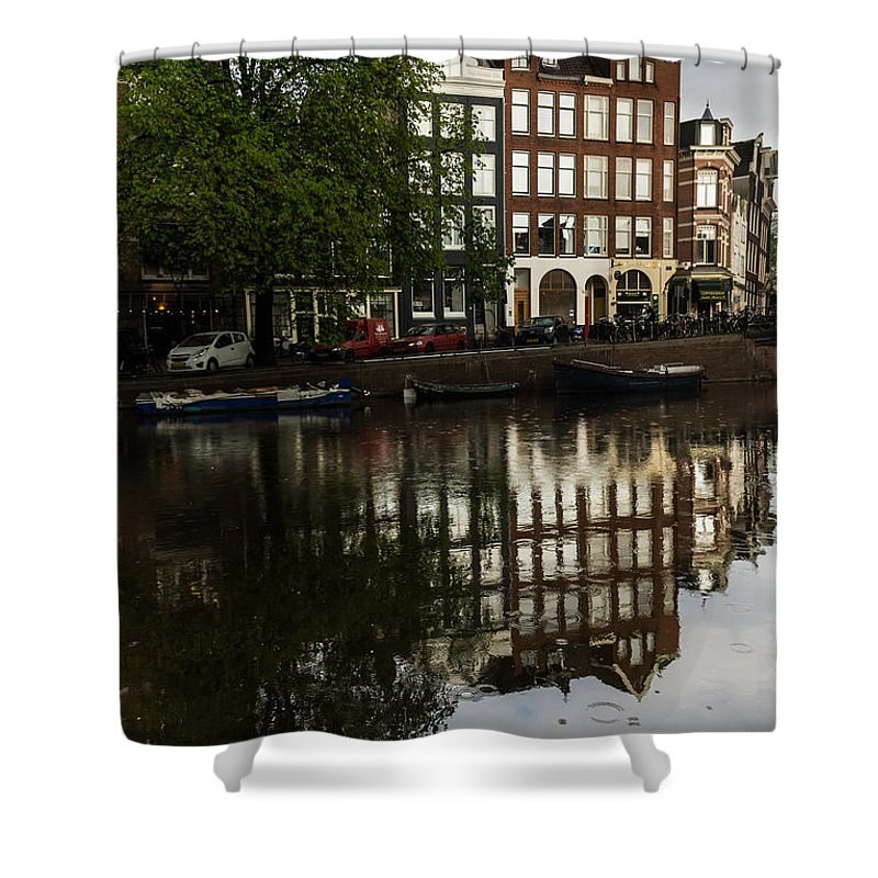 Amsterdam Shower Curtain featuring the photograph Amsterdam Canal Houses In The Rain by Georgia Mizuleva