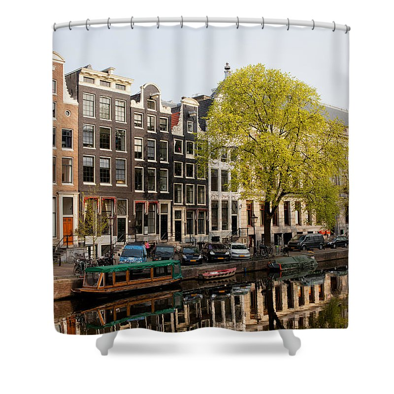 Amsterdam Shower Curtain featuring the photograph Amsterdam Houses Along The Singel Canal by Artur Bogacki
