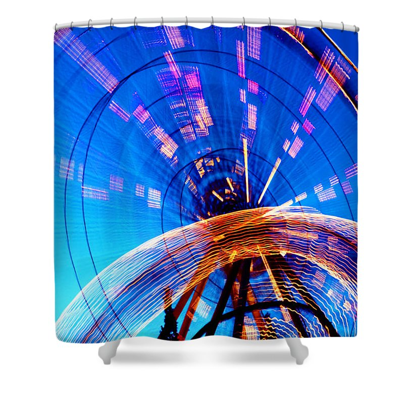 Amusement Park Shower Curtain featuring the photograph Amusement Park Rides 1 by Steve Ohlsen