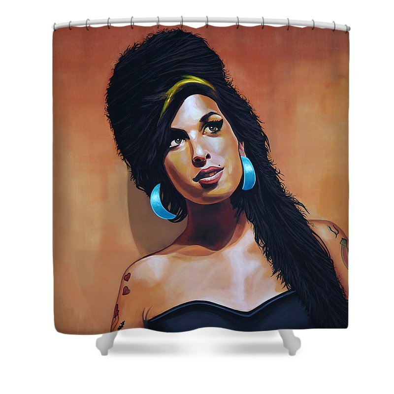 Amy Winehouse Shower Curtain featuring the painting Amy Winehouse by Paul Meijering