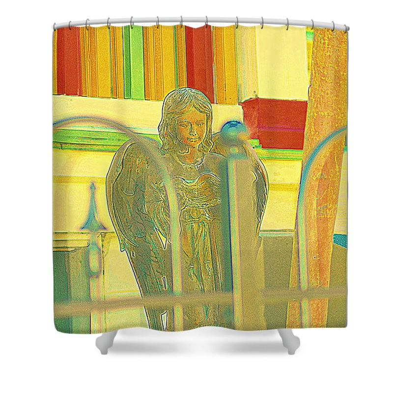 Sculpture Shower Curtain featuring the photograph An Angel For An Angel by Kathy Barney