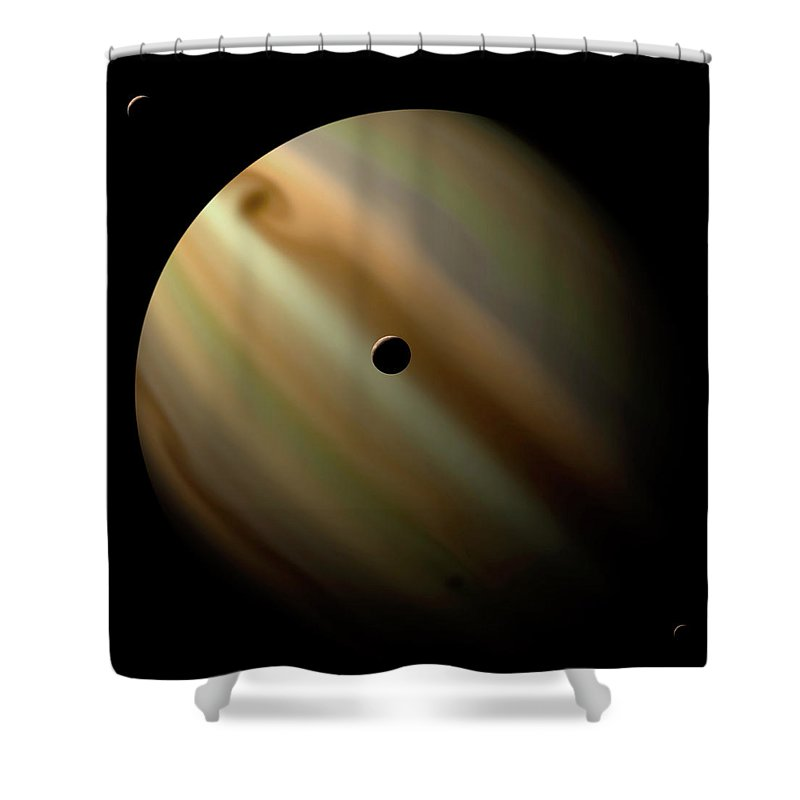 Concepts & Topics Shower Curtain featuring the digital art An Artists Depiction Of A Gas Giant by Marc Ward/stocktrek Images