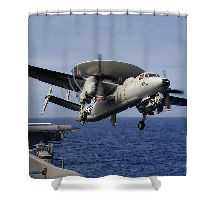 Uss Kitty Hawk Shower Curtain featuring the photograph An E 2c Hawkeye by Paul Fearn