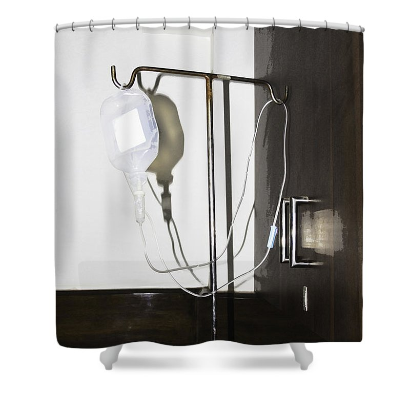 Bottle Hanging From Stand Shower Curtain Featuring The Photograph An Empty  Glucose Bottle And Tube On